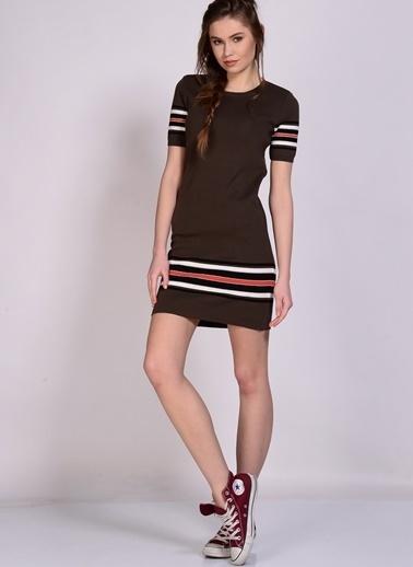 Black Pepper Kısa Kollu Mini Elbise Haki